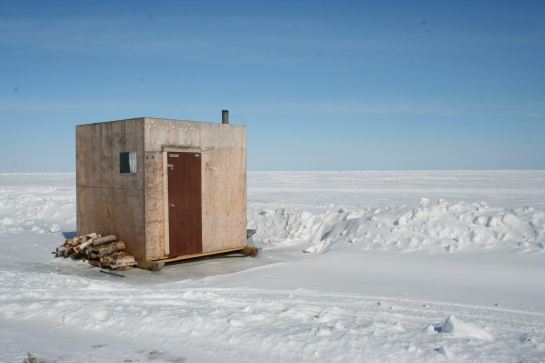 The ice hut gave shelter to fishermen and often provided further comforts with the inclusion of a sofa, TV and fridge to keep the beer from freezing.