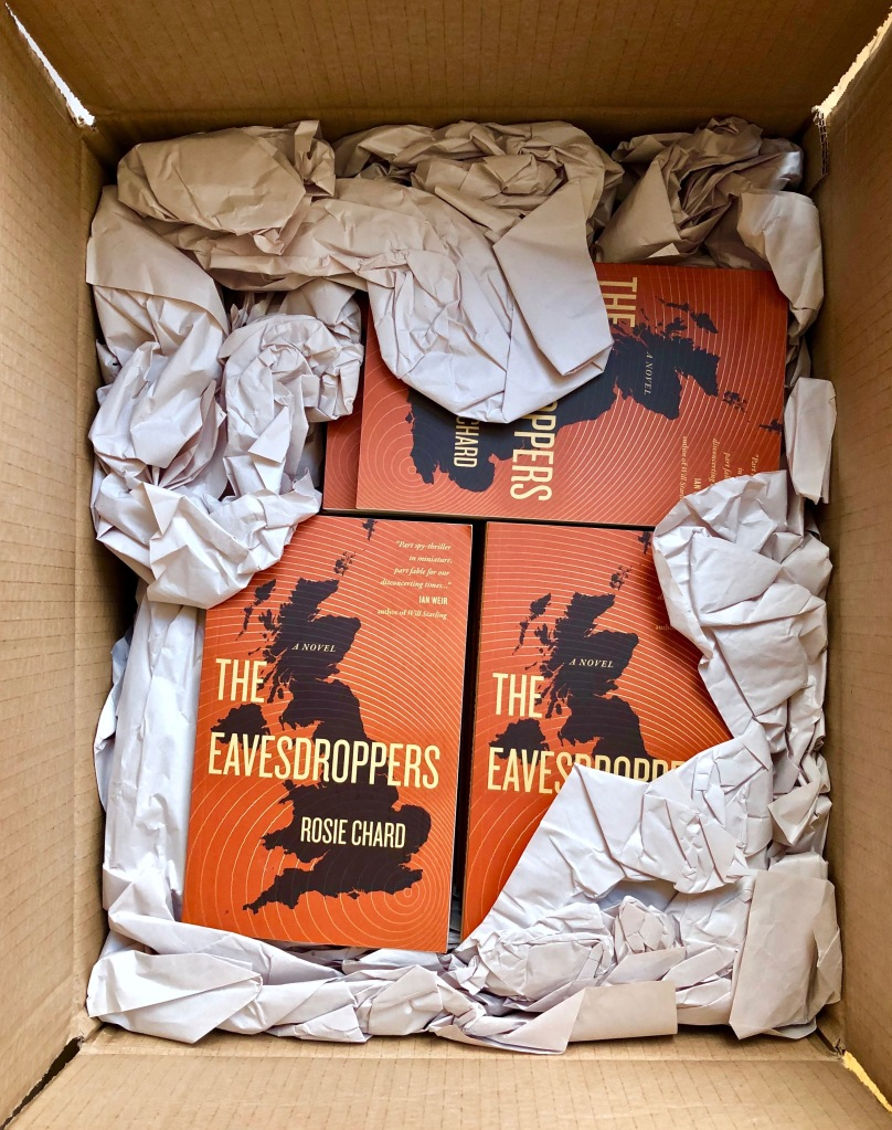 Several of the novel The Eavesdroppers in a cardboard box